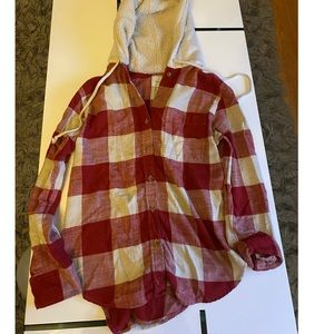 Button up plaid shirt with hood